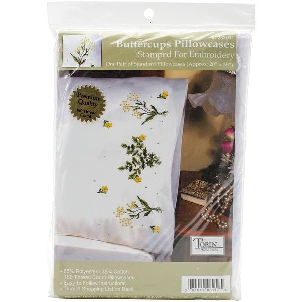 "Stamped Pillowcase Pair For Embroidery 20""X30""-Buttercups"