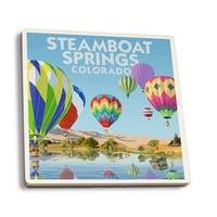 Steamboat Springs CO Hot Air Balloons - LP Artwork (Set of 4 Ceramic Coasters)