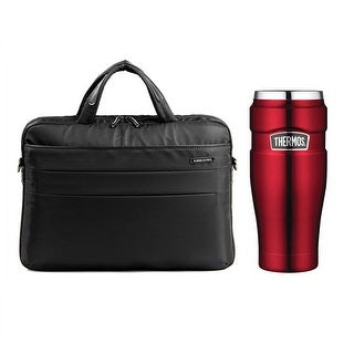 """Thermos Vacuum Insulated 16oz Tumbler (Red) with 14.1"""" Laptop Bag (Black)"""