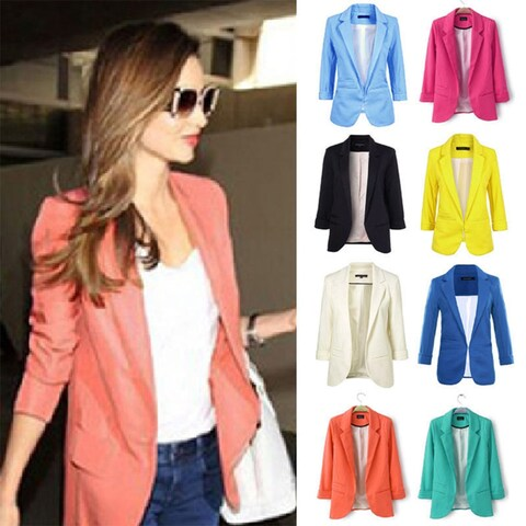Fashion Women Casual Slim Fit Candy Color Suit Blazer Coat Jacket Outwear