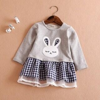 The beauty of autumn children's girls' Cotton Skirt embroidered skirt of rabbit ears