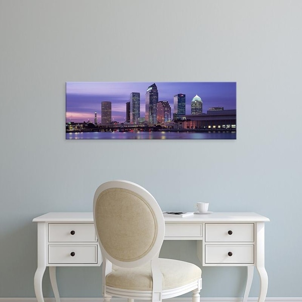 Easy Art Prints Panoramic Images's 'USA, Florida, Tampa, View of an urban skyline at night' Premium Canvas Art