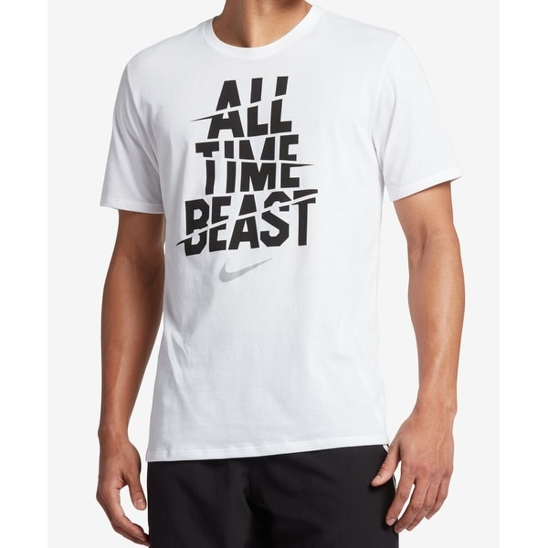 f68b71c9d7ec Shop Nike White Mens Size Large L All Time Beast Graphic Tee T-Shirt ...