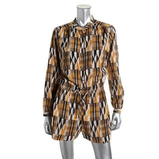 MICHAEL Michael Kors Womens Mandarin Collar Cuff Sleeves Romper - XL