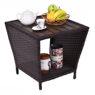 Attractive Costway Rattan Wicker Side Sofa Coffee Table Outdooru0026 Indoor W/ Plastic  Wood Slat Top