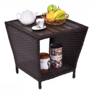 Costway Rattan Wicker Side Sofa Coffee Table Outdooru0026 Indoor W/ Plastic  Wood Slat Top