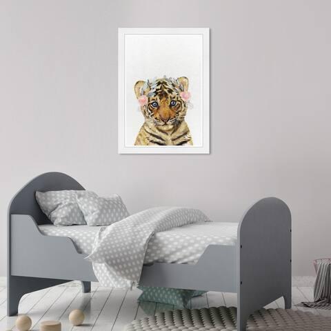 Olivia's Easel 'Tiger Cub' Kids Wall Art Framed Print Orange, White