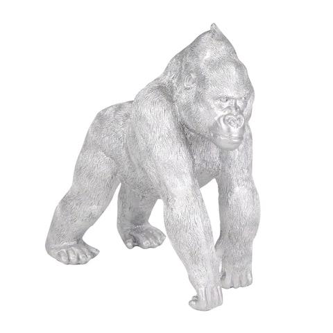 """Polyresin 10"""" Gorilla, Silver"""