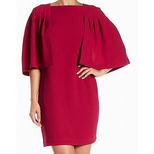 93d83beb5e28f9 Shop Trina Turk Fuschia Pink Womens Size 14 Cape Textured Sheath Dress -  Free Shipping Today - Overstock - 27548534