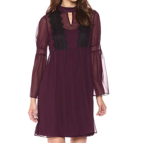 Jessica Simpson Purple Women's 8 Lace-Trim Bell-Sleeve A-Line Dress