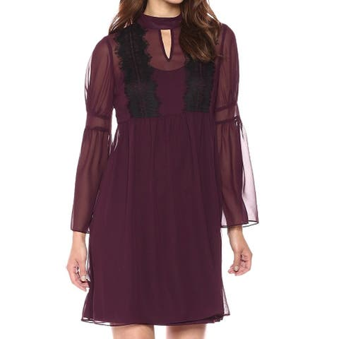 Jessica Simpson Purple Womens Size 6 Chiffon Keyhole Sheath Dress