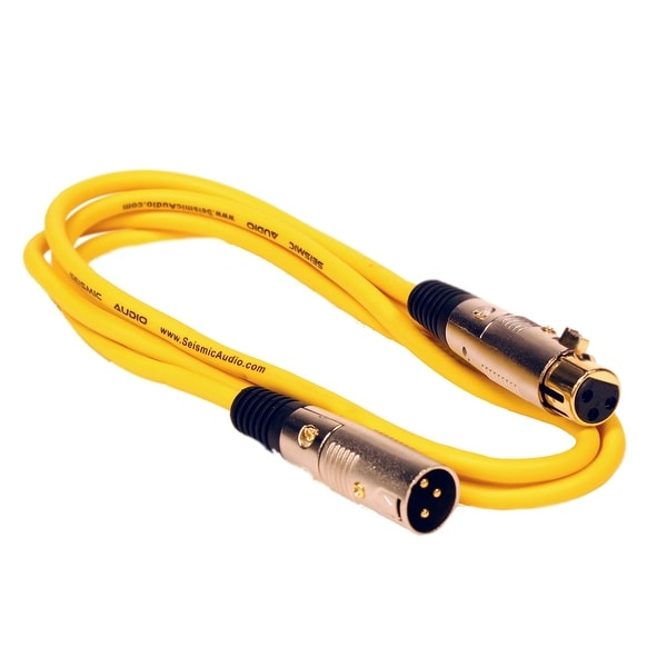 Seismic Audio Premium 6 Foot Yellow XLR Patch Cable Cord - 3 Pin XLRF to XLRM Mic Cord