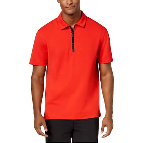 Dkny Mens Taped Zipper Rugby Polo Shirt