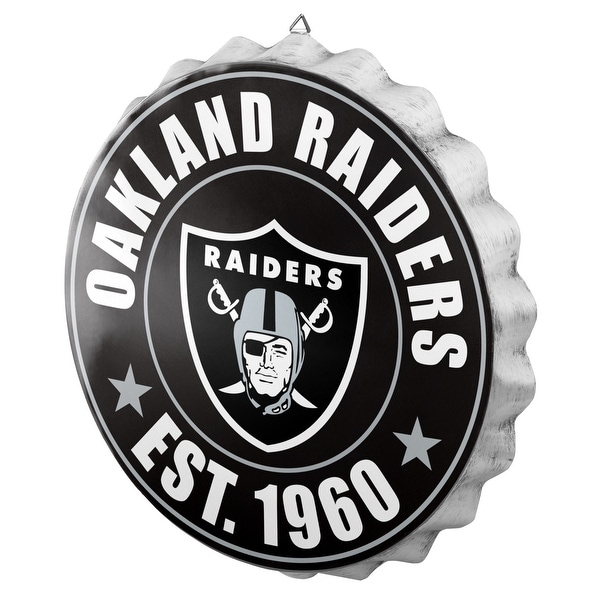 66025c86 Forever Collectibles Licensed NFL Bottlecap Wall Sign for Oakland Raiders