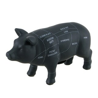 Large Black Ceramic Pig Shaped Coin Bank Butcher Chart Piggy Bank 7 1/4 Inch - 7.25 X 12.5 X 4 inches