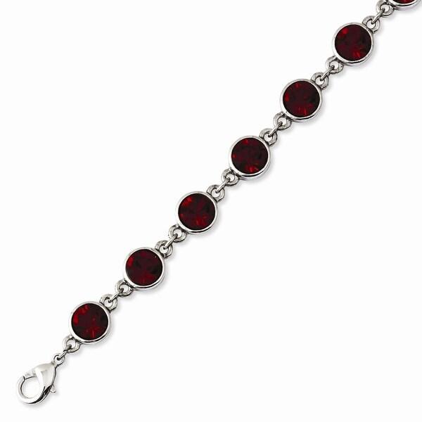 Silvertone Red Crystal Bracelet - 7.25in
