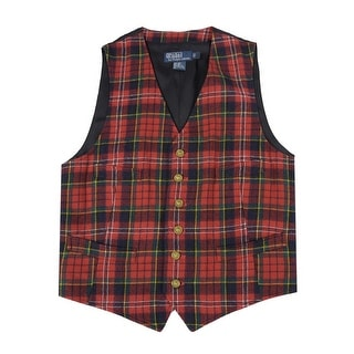 Polo Ralph Lauren Wool Flannel Plaid Button Front Vest Red Small S