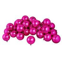 "12ct Shiny Pink Magenta Shatterproof Christmas Ball Ornaments 4"" (100mm)"