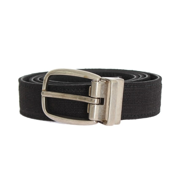 Dolce & Gabbana Dolce & Gabbana Blue Linen Leather Silver Buckle Belt - 95-cm-38-inches