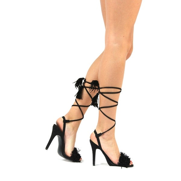 Static Fashion Womens Strappy Lace Up High Heel Fringe Sandals