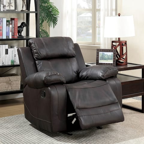 Furniture of America Torse Contemporary Brown Faux Leather Recliner