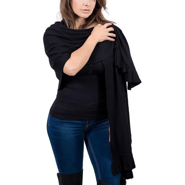 Maglierie Di Perugia Cashmere Blend Elegant Black Ruffled Wrap/Shawl - 26-74