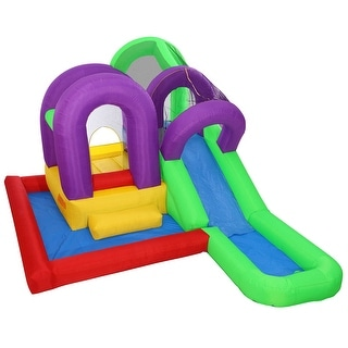 Cloud 9 Wet 'n' Slide Bounce House - Inflatable Combo with Wading Splash Pool, without Blower