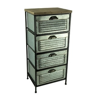 Shop Galvanized Metal Wood Topped 4 Drawer Storage Cabinet