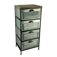 Galvanized Metal Wood Topped 4 Drawer Storage Cabinet