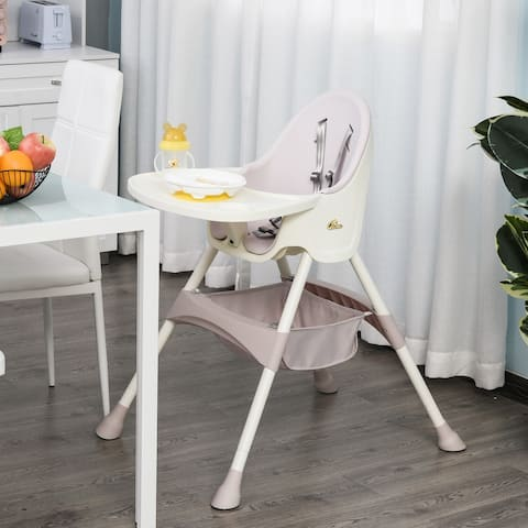 Qaba Baby High Chair 3-in-1 Kids Toddler Seat with 5-Point Safety Harness, Removable Food Tray, & Flexible Design