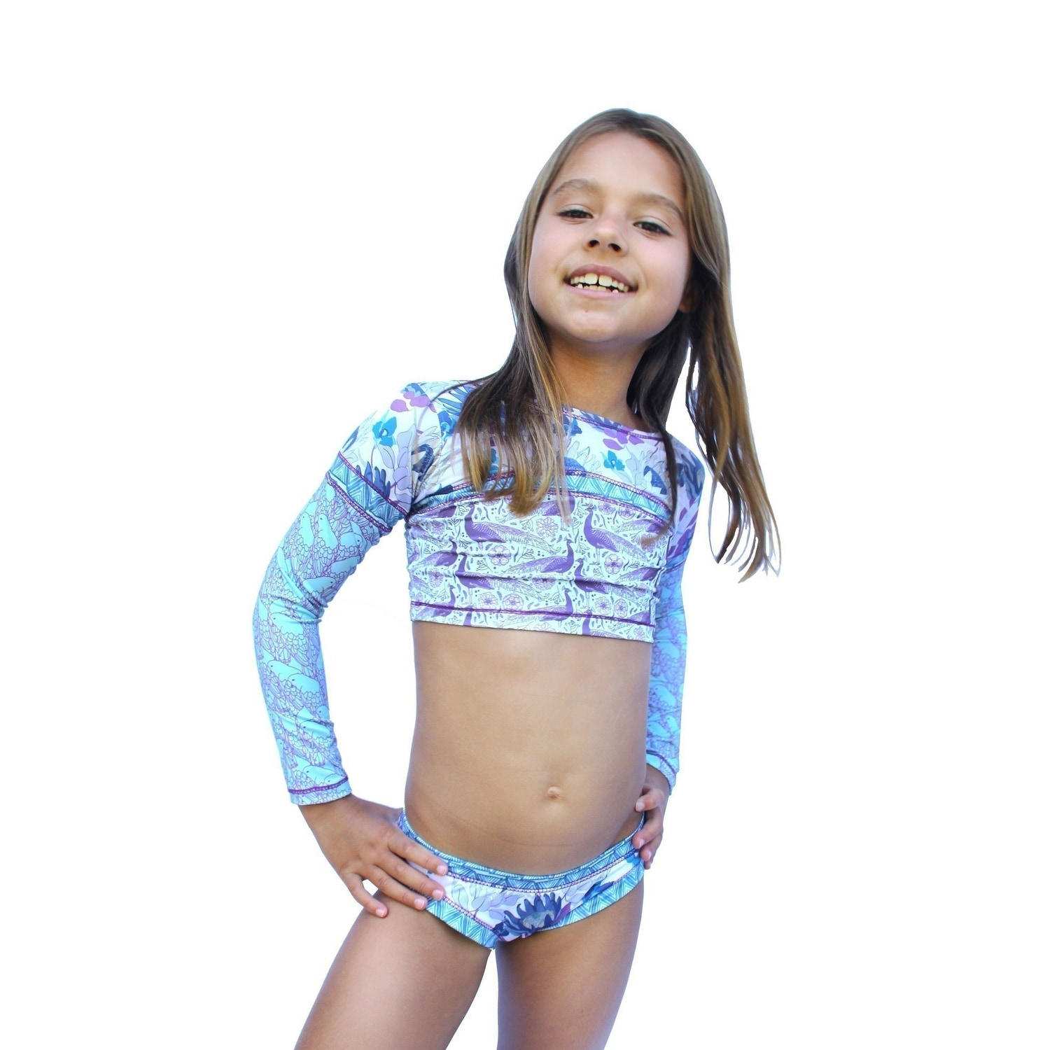 d4f37bc8acb2e Shop Azul Little Girls Purple Reign Floral Print Long Sleeve 2 Pc Rash Guard  Set - Free Shipping Today - Overstock - 28298210