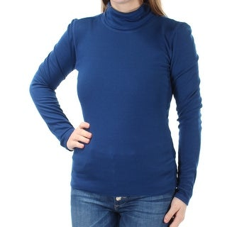 PLANET GOLD $13 Womens New 1680 Blue Ribbed Long Sleeve Top M Juniors B+B