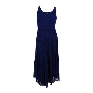 Tommy Hilfiger Women's Tiered Illusion Maxi Dress (Navy, 14)