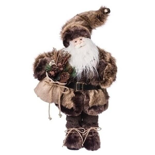 "18"" Old World Father Christmas Woodland Fur Coat Santa Claus Figurine"