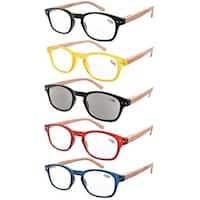 Eyekepper 5-pack Spring Hinge Wood-grain Printed Arms Reading Glasses Includes Sun Readers +2.5