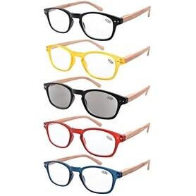 eyekepper 5pack spring hinge woodgrain printed arms reading glasses sun readers