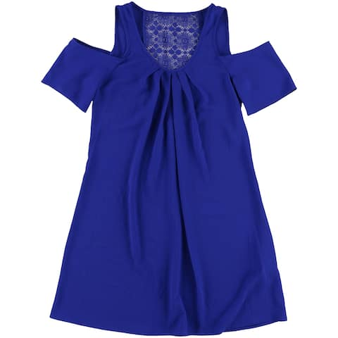 Sequin Hearts Womens Lace-Back Shift Dress, blue, XX-Small
