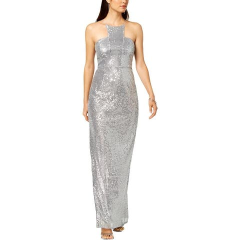 Adrianna Papell Womens Evening Dress Sequined Halter