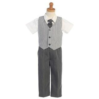 Charcoal Seersucker Vest Pant Suit Set Boys 12M-4T