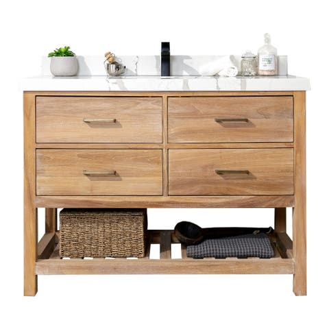 Willow Collections 48 x 22 Parker Solid Teak Wood Single Sink Bathroom Vanity with 2 in Countertop