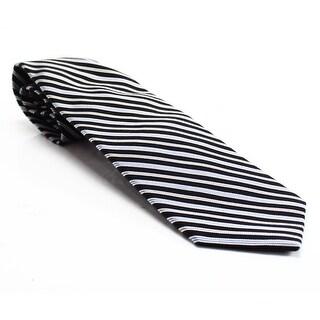 Westbury NEW Black Traditional Woven Striped Classic Mens Silk Necktie
