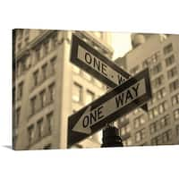Premium Thick-Wrap Canvas entitled New York City with traffic signs. - Multi-color