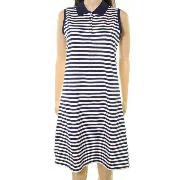 bfb2e8c8 Shop Tommy Hilfiger NEW Navy Blue Womens Size M Striped Polo Shirt Dress -  Free Shipping On Orders Over $45 - Overstock - 21490963
