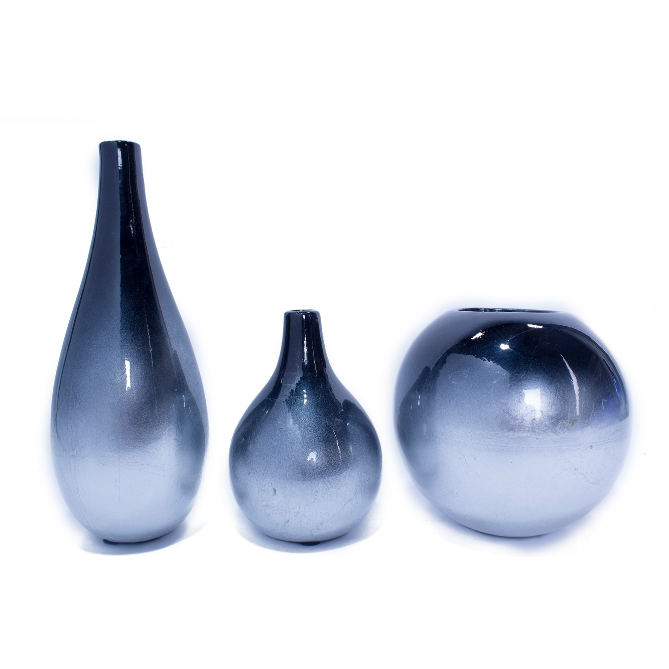 3 Piece Vase Set Navy And Silver Overstock 24231057