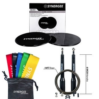 Synergee Black Gliding Disc, Mini Bands and Speed Rope Combo Pack