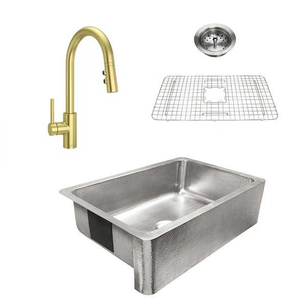 Percy Apron-Front Brushed Stainless Steel 32 in. Single Bowl Kitchen Sink with Pfister Satin Gold Stellen Faucet All-in-One Kit. Opens flyout.