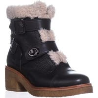 COACH Preston Double Buckle Booties, Black/Natural