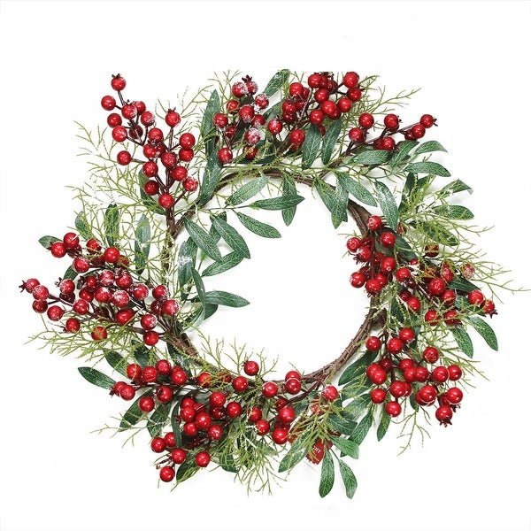 """18"""" Frosted Artificial Green Leaves and Red Berries Christmas Wreath - Unlit"""