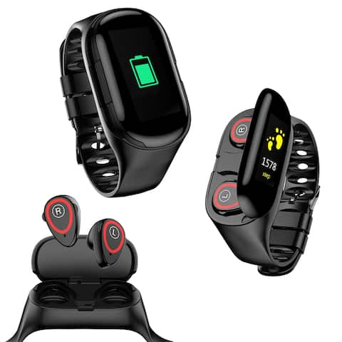 M1XX Fitness Watch & Wireless EarBuds by Indigi® [Heart Rate, Blood Pressure, Pedometer] - Magnetic Charge - BT 5.0 (Black)
