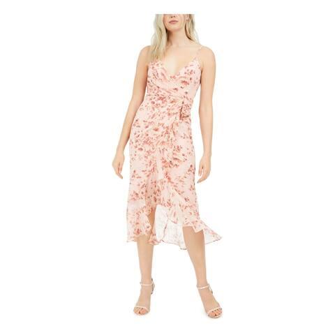 BARDOT Pink Spaghetti Strap Below The Knee Dress 4\XS